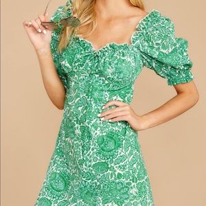 Green and white floral milkmaid dress